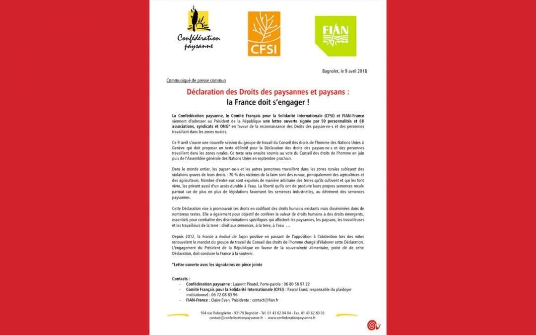 Déclaration des Droits des paysannes et paysans : la France doit s'engager
